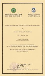 sertifikat seminar Pasca UIN BDG dan Monash University